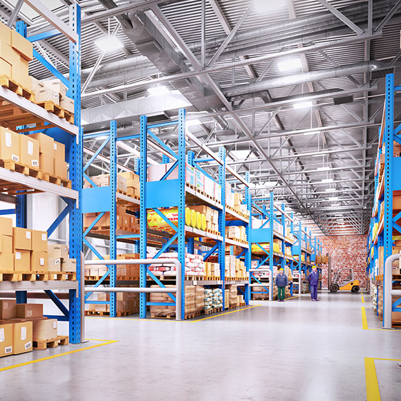 Warehouse shelves to promote Powell Commercial Insurance Brokers - Commercial Combined Insurance