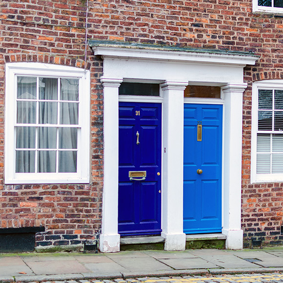 Front doors of homes in Chester to promote Powell Commercial Insurance Brokers - Property Owners Insurance