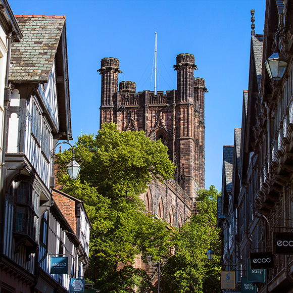 St Peters Church in Chester to promote Powell Commercial Insurance Brokers