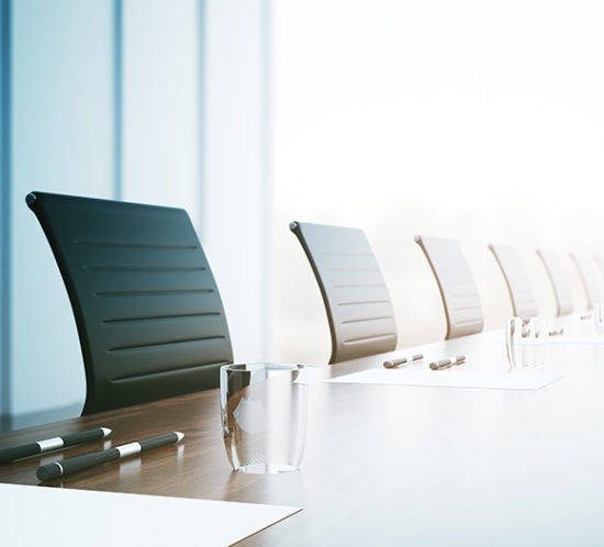 Row of board member chairs to promote Powell Commercial Insurance Brokers - Directors and Officers Insurance
