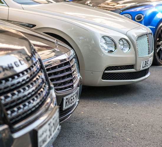 High value cars parked to promote Powell Commercial Insurance Brokers - Private Car Insurance